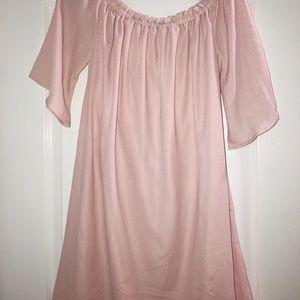 Soft pink off the shoulder dress